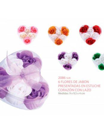 6-flores-de-jabon-presentadas-en-estuche-corazon-con-lazo