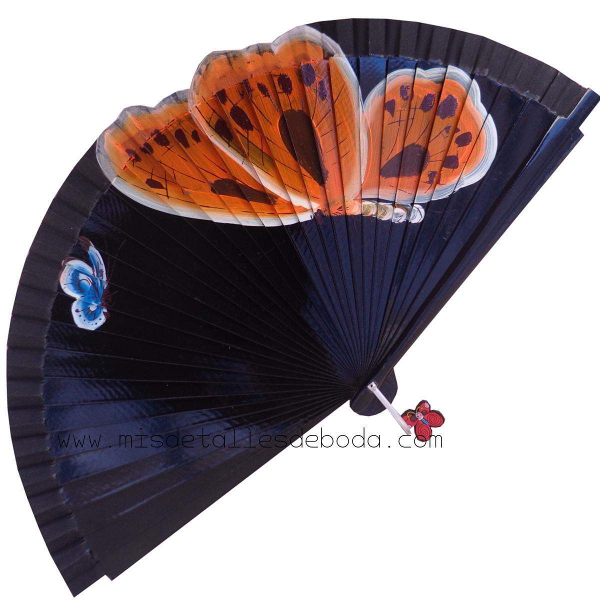 abanico-pintado-a-mano-mariposas-negro