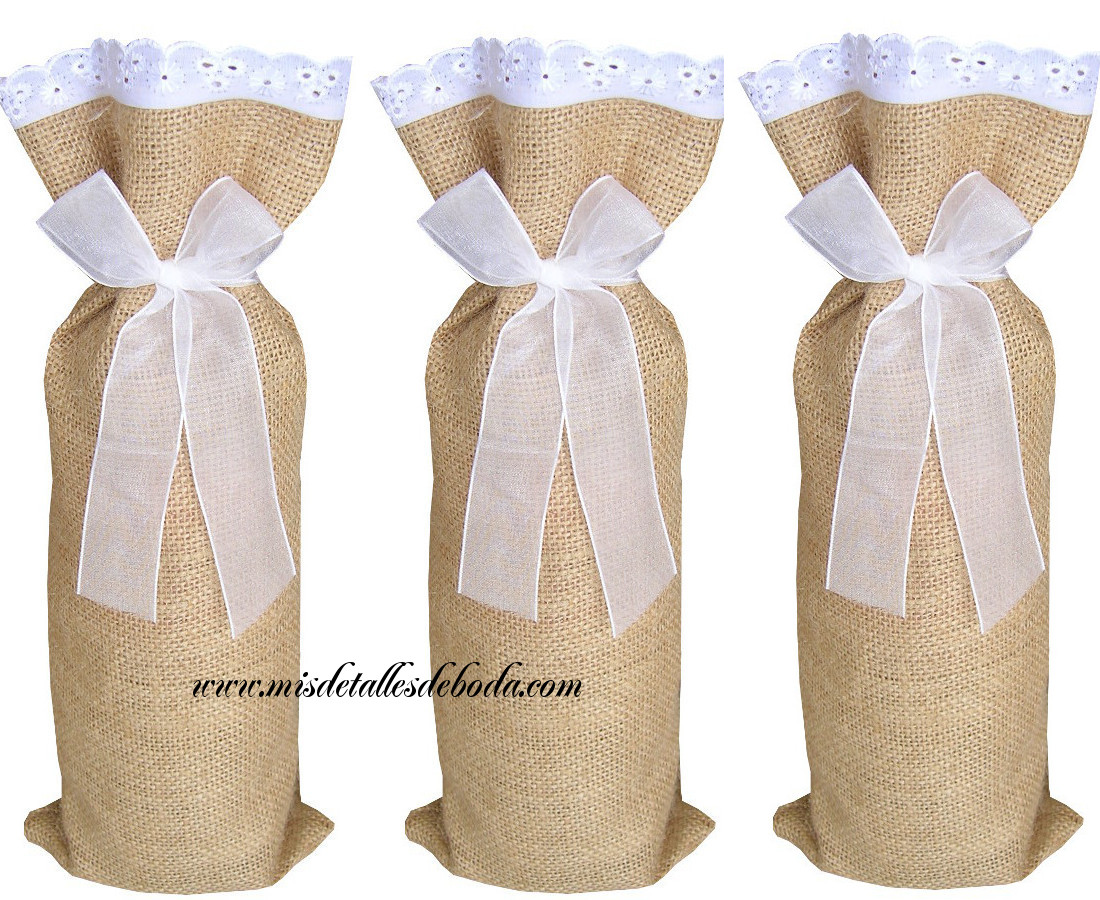 4fc9ffe3e Saco de yute decorado con bordado para botella varios tamaños   Mis ...